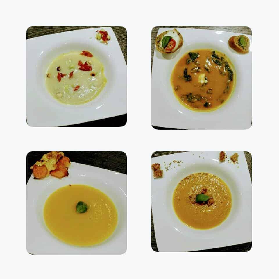 vier verschillende soepen